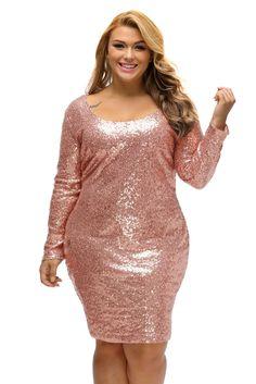 9d307b83833c6 BIG n BEAUTIFUL Sparkling Sequin Plus Size Long Sleeve Dress