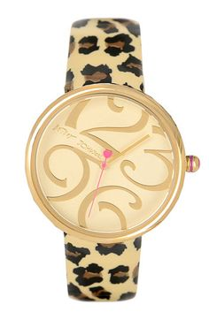 Betsey Johnson Leopard Print Patent Leather Strap