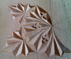 Chip carved rosette in progress