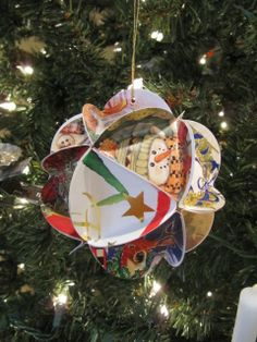 Recycled Christmas Card…Folded Circle Ornament - Sew Many Ways...