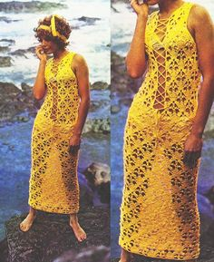 Long Beach Cover Up Dress Crochet Lace Up by GrandmaHadItGoinOn