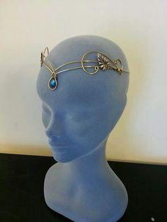#handmade #elven #gold #circlet #tiara #swarovski #crystal pendant #thehobbit #galadriel #larp #cosplay #wedding