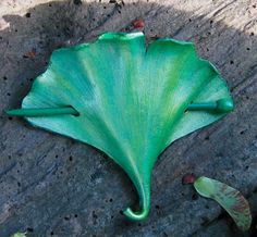 Leather Ginkgo Leaf Stick Barrette Large by RiverGypsyArts on Etsy