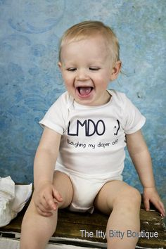 Laughing My Diaper Off Funny Baby Onesie by ShopTheIttyBitty