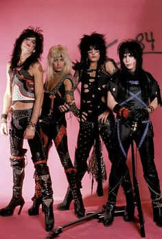 Described through the years as the world's most notorious rock band, rockers Nikki Sixx, Tommy Lee, Nick Mars and Vince Neil have much to rock about. Glam Metal, Rock Chic, Rock Style, Rock Rock, Hair Metal Bands, 80s Hair Bands, Iron Maiden, 80s Rock Fashion, Rock And Roll