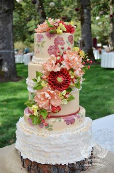 Rustic Floral Hand Painted Wedding Cake