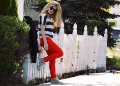 OOTD: mixed prints and red jeggings