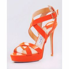28dbaf83eb9 Jimmy Choo Patent Leather Neon Orange Platforms More pics coming! Jimmy Choo   Vamp