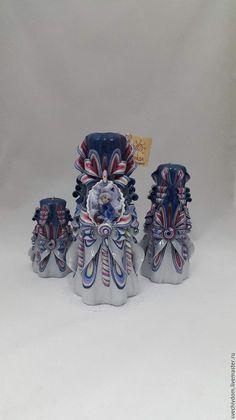 """Купить Резные свечи .Подарочный набор """"Снегурочка"""" - голубой, Новый Год, новогодний подарок, подарок"""