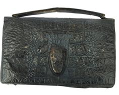 1920s Alligater Handbag Vintage Crocodile Handbag Made in England Crodile Skin Bag Alligator Skin Purse Real Skin Bag by BiminiCricket on Etsy