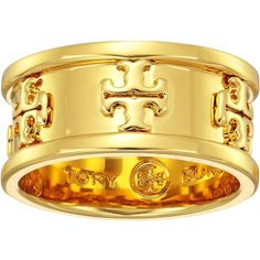 Tory Burch Raised Logo Ring (Tory Gold) Ring (£69) via Polyvore featuring jewelry, rings, tory burch, yellow gold jewelry, tory burch jewelry, gold ring and tory burch ring
