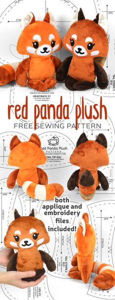 Sewing Stuffed Animals Free sewing tutorial: Make a cute red panda plush complete with big striped tail! Plushie Patterns, Animal Sewing Patterns, Sewing Patterns Free, Free Sewing, Sewing Tutorials, Free Pattern, Doll Patterns, Basic Sewing, Pattern Sewing