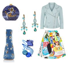 """Blue dream"" by gloria-yi-qiao on Polyvore featuring Edie Parker, Rebecca Minkoff, Moschino and Valentino"