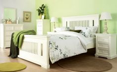 Traditional Green Bedroom Color with White Bedroom Furniture Set