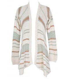 Soft Stripes Cardigan Sweater in Aqua/Taupe Stripe