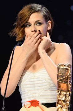 Kristen Stewart Wins a French Oscar—and Even She Looks Adorably Stunned at the 2015 César Awards  Kristen Stewart, Cesar Awards