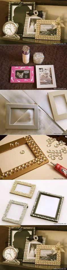decorar porta retratos com pedrinhas de vidro