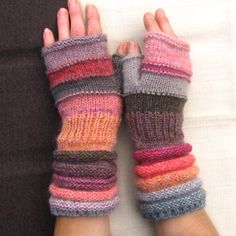 For Mother Gift Knit Fingerless Gloves like Pink caramel candies Unmatched Hand Knit Striped Arm Warmers with upcycled wool and kid mohair Knitting Needle Case, Hand Knitting, Knitting Patterns, Recycled Sweaters, Fingerless Gloves Knitted, Knitting Accessories, Colorful Fashion, Ravelry, Diy Clothes