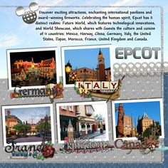 Epcot page 2 scrapbook digiscrap layout by CynthiaY