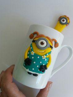 Minions girl polymer clay mug