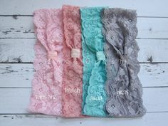 SET OF 2 vintage inspired wide stretch lace headbands head wraps (newborn-adult). $12.00, via Etsy.