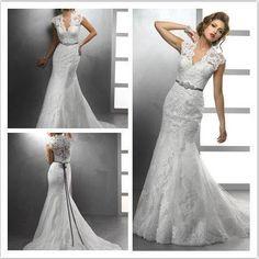 Vintage Inspired Lace Covered Back V Neck Mermaid Wedding Dress Size