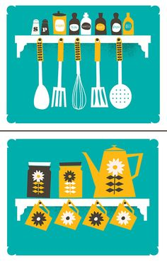 Neat, bright, and ready to go! Thats our new Kitchen Prints Art Set: A Place For Everything and Everything In Its Place, our two kitchen, spices, coffee and tools of the trade Print Set!    This is our newest kitchen-themed art print set including one copy of each Print:    1: A Place For Everything featuring the perfect set of herbs & spices that every home should have, plus your basic tools of the trade too. Mid-Century design & illustration are the tops to us! Next to a neat & orderly…