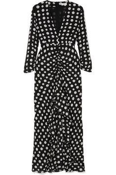 RIXO London | Adriana ruffled polka-dot silk-crepe midi dress | NET-A-PORTER.COM