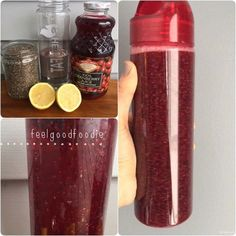 Energizing Detox Drink 12 oz water 12 oz 100% cranberry juice 2-3 tablespoons chia seeds Juice of 1 lemon INSTRUCTIONS Mix the water and cranberry juice in a large water bottle || Add chia seeds and stir until combined. The chia see