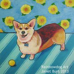 30 x 30 acrylic on masonite Corgi painting by Janet Burt of Rainbowdog Art