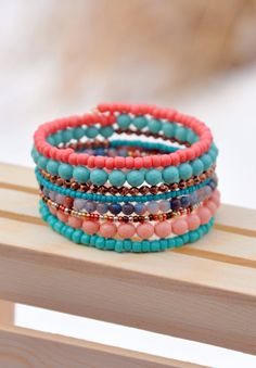 Eclectic Turquoise & Coral Boho Wrap Bracelet by HoleInHerStocking fashion, wrap bracelet, memory wire bracelet, aztec, western, bohemian