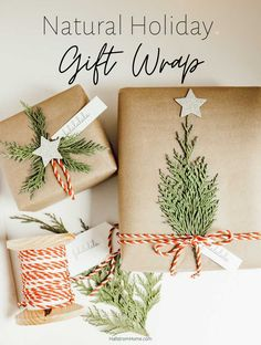 hurricane food ideas Natural Holiday Gift Wrap with Greenery Vintage Christmas Wrapping Paper, Christmas Gift Wrapping, Christmas Gift Tags, Simple Christmas, Christmas Time, Christmas Ideas, Christmas Tables, Christmas Fireplace, Nordic Christmas