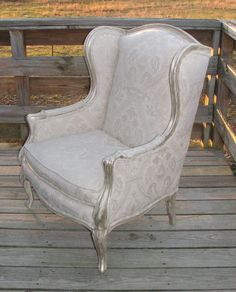 Reserved - Refurbished French Wingback chair newly upholstered French matelassé  shabby home furniture.