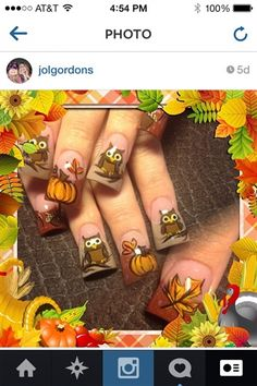 Fall+owls++by+Oli123+-+Nail+Art+Gallery+nailartgallery.nailsmag.com+by+Nails+Magazine+www.nailsmag.com+#nailart