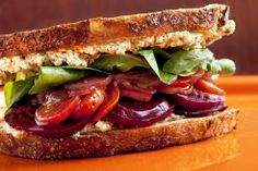 Try this delicious Roasted Beets with Pistachio-goat Cheese Spread #Sandwich on Sourdough