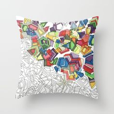 """COLORFILL Throw Pillow Individually Cut and Sewn By Hand.  Size: 16"""" x 16"""". Double-Sided Print. $20.00"""