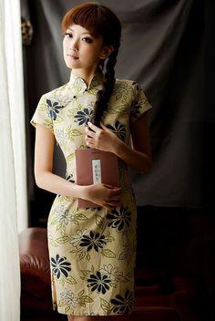 Floral Mandarin Collar Cheongsam / Qipao / Chinese Dress