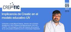 Portada del boletín 9 de Creatic  Presentamos la novena edición de nuestro boletín. En junio entrevistamos a José Miguel Salazar, director ejecutivo del programa de mejoramiento UVA1407, Creatic, quien nos entrega su visión del impacto del proyecto en la comunidad académica de la Universidad.