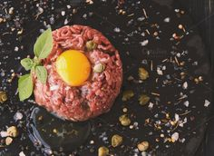 Steak tartare of raw minced meat with salt and spices by Wild Drago Shop on… What Is For Dinner, Steak Tartare, Spices, Salt, Breakfast, Food, Morning Coffee, Spice, Essen