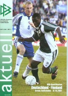 Finland 2 Germany 2 in June 2001 in Helsinki. Programme cover for the Group 9 World Cup Qualifier.