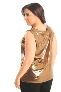 Vikki Vi Jersey Bronze Goddess Tank A great plus size piece for your holiday party.