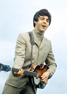 "Paul McCartney photographed during the ""The Night Before"" sequence on the set of ""Help!"" in 1965"