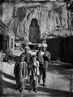 Bamiyan Valley . Afghanistan . The Grand Buddha in 1973 before destruction by the Taliban.