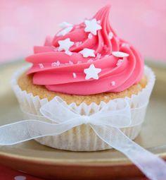 Pink wedding cupcake with sprinkles