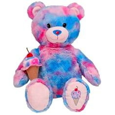 BUILD A BEAR Plush BUBBLE GUM ICE CREAM Teddy BASKIN ROBBINS Pink Blue... ❤ liked on Polyvore featuring toys and other