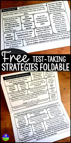 Taking tests is uncomfortable! Easily slipped into a notebook or binder, this flippable is jam packed with the best test-taking tips and strategies that I have collected over the years. Especially with Math, taking exams is very emotional. These tips and Test Taking Skills, Test Taking Strategies, Teaching Strategies, Teaching Study Skills, Comprehension Strategies, Reading Comprehension, Reading Test, Sat Reading, Reading Intervention