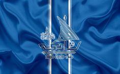 Download wallpapers Hidd SCC, Al-Hidd FC, 4k, Bahrain football club, emblem, logo, silk flag, Bahraini Premier League, Muharraq, Bahrain, football, Bahrain football championship