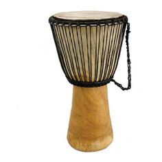 """23"""" Full Size Professional Quality Authentic African Djembe Drum From Ghana - Traditional African Musical Instrument by African Music. $128.00. Full sized authentic African D'jembe Drum, 23 inches tall with top 13 inches in diameter. The music of the D'jembe drum is an African trademark. Its deep, rich, and loud bass tones can be heard for miles in quiet African bush country. These drums are popular in reggae and other cultural music productions. In West Africa nearly all..."""