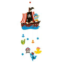 Arrr me hearties! This cheerful pirate mobile is the perfect accessory to brighten up any nursery or playroom. Featuring a cheeky pirate aboard a smashing ship and several nautical attachments, it is sure to delight any child. Plenty to look at and talk about!
