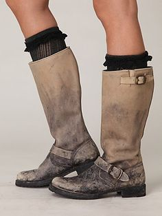 Super cool distressed Frye boots.